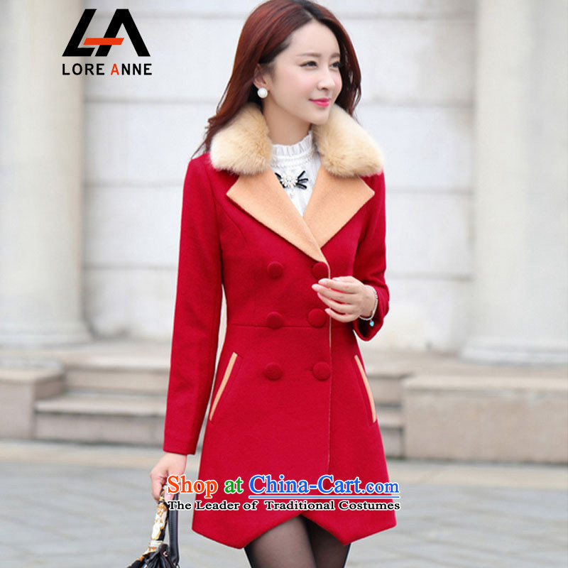 La4 of the   2015 Fall_Winter Collections in the new Korean long hair? overcoat  9978 Red L