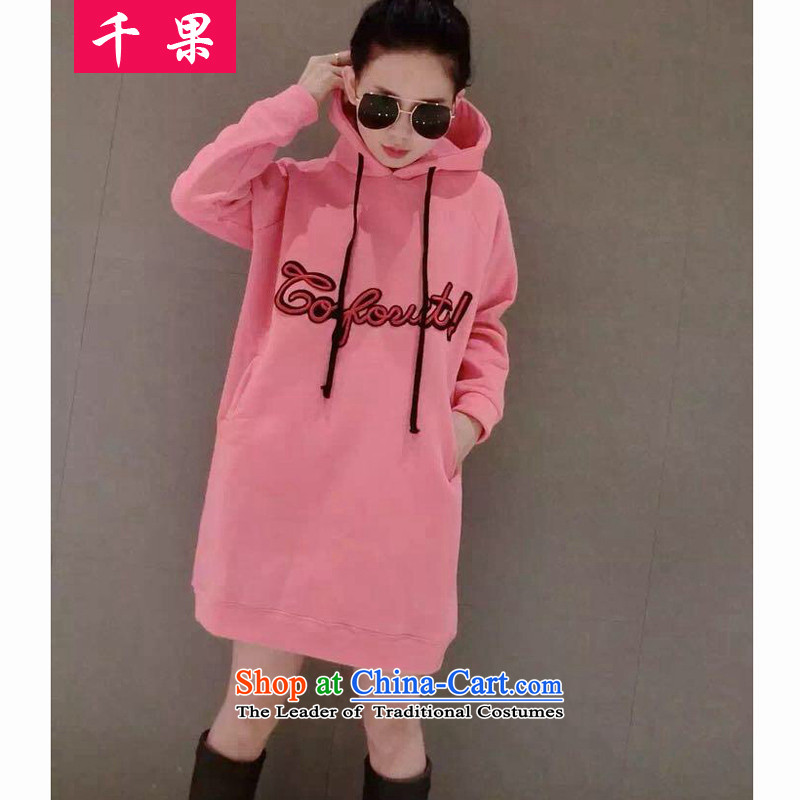 The results of the European station 2015 thousands of autumn and winter new OSCE large cargo loading thick kit and members of lint-free and skirt with cap. Long sweater female larger autumn and winter coats 392 pink�L
