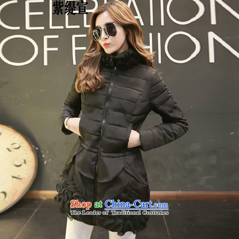 The first declared large European and American economy women of autumn and winter in the new fat mm long robe jacket to thin cotton women Sau San video?Q7092_ black?4XL 165- around 922.747 175