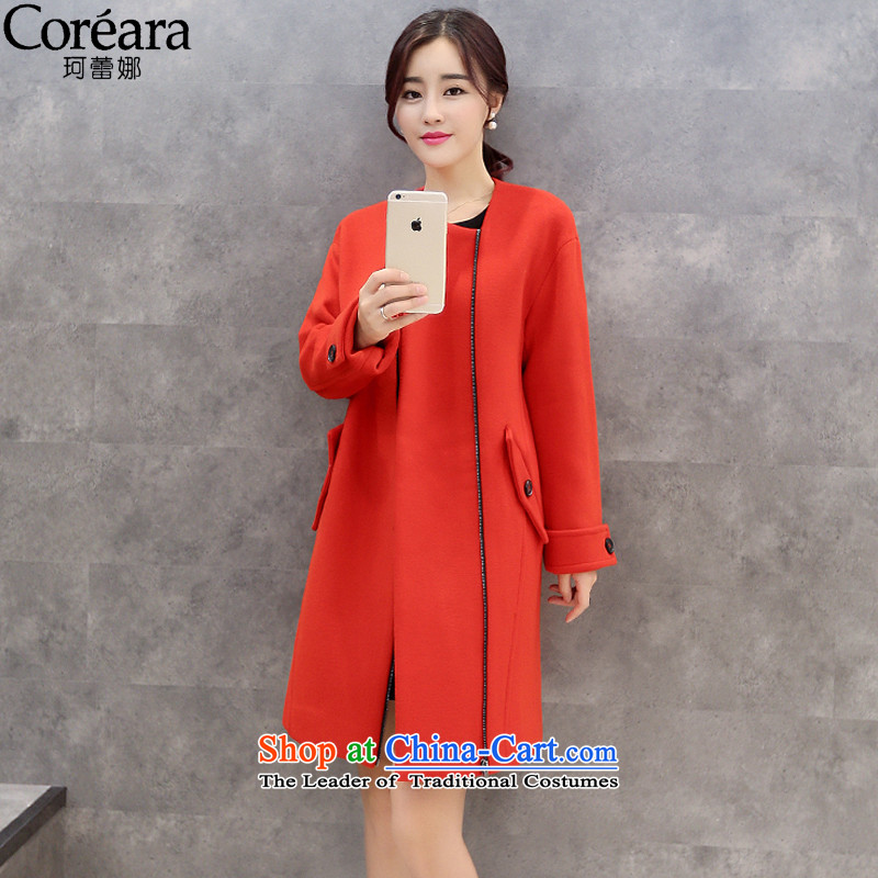 The maximum number of Memnarch Lei gross? 2015 winter coats new pure color video feed coats zipper thin?? 88389 red cloak gross燲L