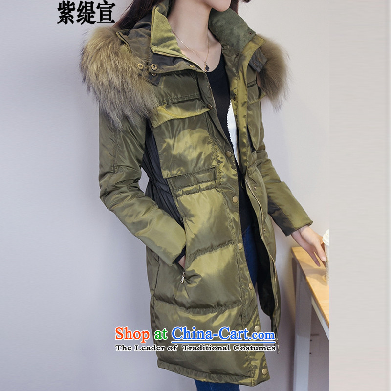 The first declared 200 jin economy thick Korean version of SISTER video thin cotton coat Sau San xl for girls in cotton-Nagymaros long thick coat燚8160_ Army Green�L around 922.747 150 - 160131
