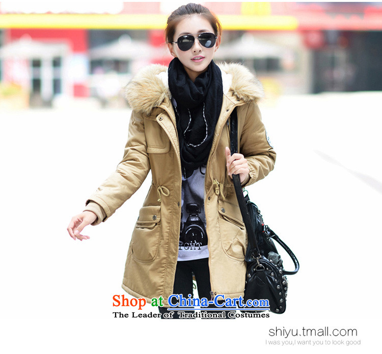 Optimize new Connie Pik autumn and winter Korean to increase women's code thick cotton coat Sau San thickened mm plus lint-free cotton in long jacket BS171223 female army green 4XL Photo, prices, brand platters! The elections are supplied in the national character of distribution, so action, buy now enjoy more preferential! As soon as possible.