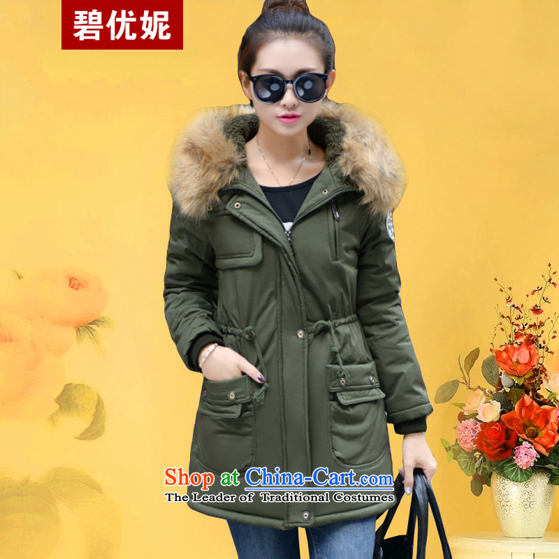 Optimize new Connie Pik autumn and winter Korean to increase women's code thick cotton coat Sau San thickened mm plus lint-free cotton in long jacket BS171223 female army green聽4XL