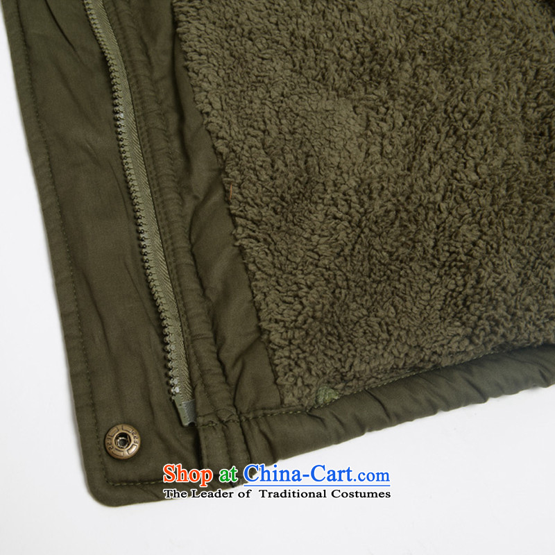 Optimize new Connie Pik autumn and winter Korean to increase women's code thick cotton coat Sau San thickened mm plus lint-free cotton in long jacket BS171223 female army green 4XL, Pik-optimized Connie shopping on the Internet has been pressed.