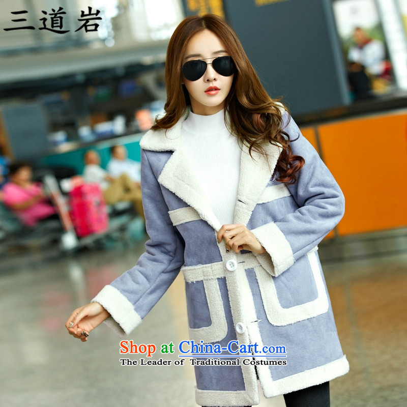 3 Rock winter clothing plus the new code women won hypertrophy with lint-free cotton thin clothing graphics thick cotton jacket loose fitS6225XXXL blue