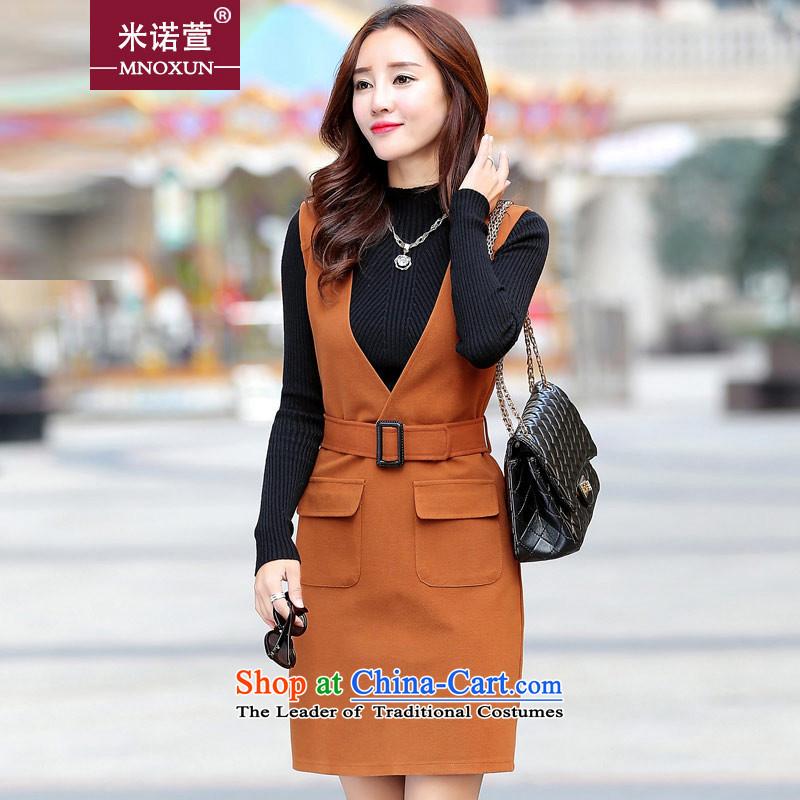Mineau Xuan by 2015 autumn and winter new Korean fashion Sau San two kits gross? dresses K755 ORANGEXL