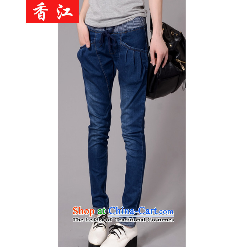 Xiang Jiang to xl elastic waist jeans autumn and winter female version trousers elastic pencil trousers 200 catties thick sister plus lint-free video thin pants thick爓inter add-2,157 large 2XL