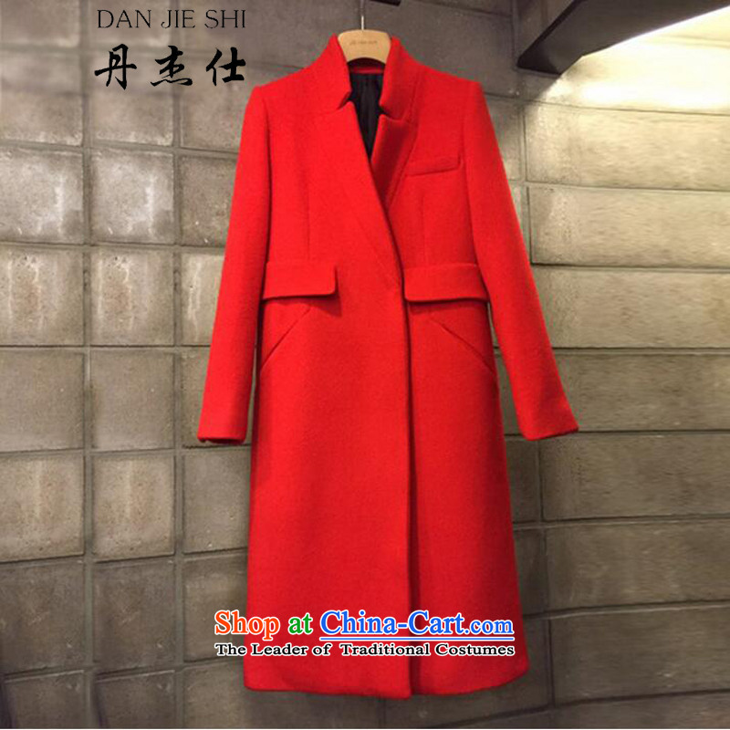 Dan JIE SHI MAO?? jacket coat female Hair Girl Korean girl in gross? jacket coat long cashmere female a wool coat female red燬