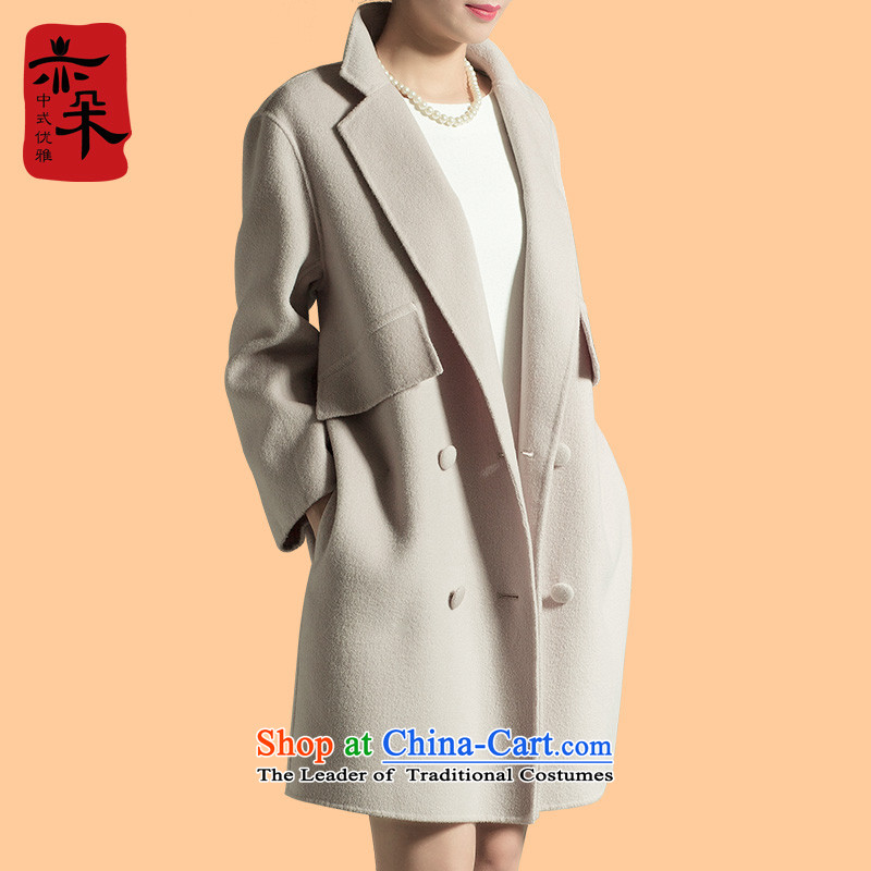 2015 double-side woolen coat girl in long autumn and winter new high-end gross large jacket? a coat-white L