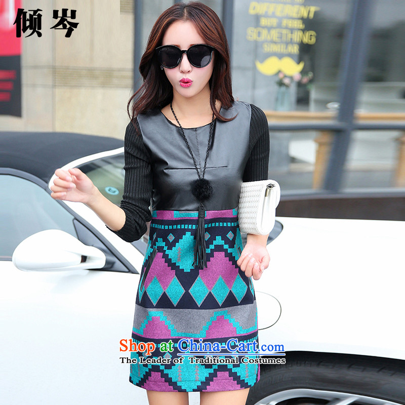 The dumping by 2015 Winter New Cen Couture fashion sense of thick MM XL PU stitching?   forming the gross long-sleeved dresses 6668# BlackM