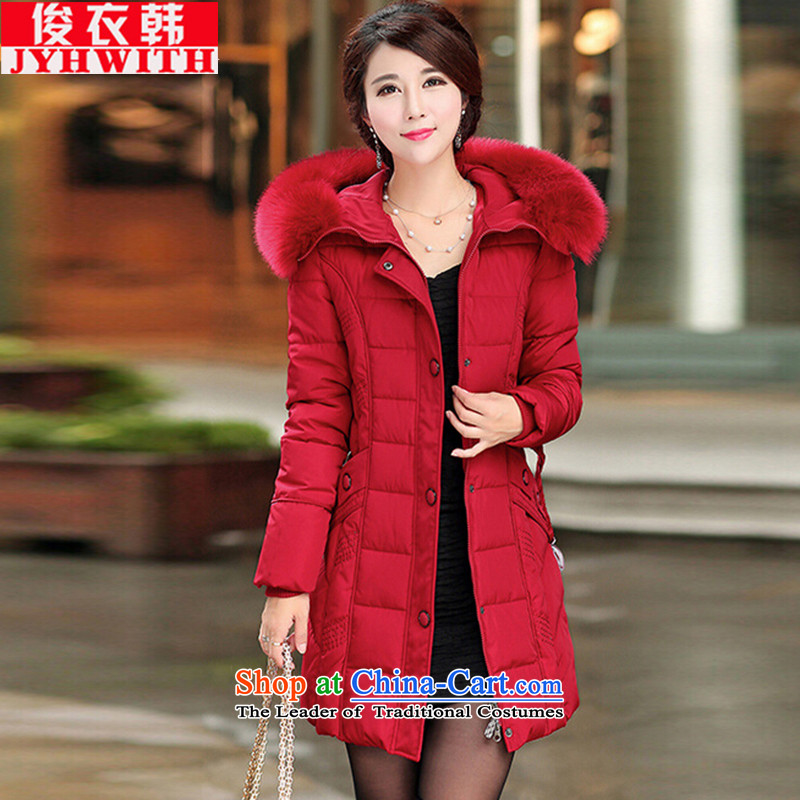 Mr James TIEN Yi Won to increase women's cotton coat thick girls' Graphics thin, feather cotton coat female_ long xl women for winter thick mei cotton women's 200 catties燲XXXXL red