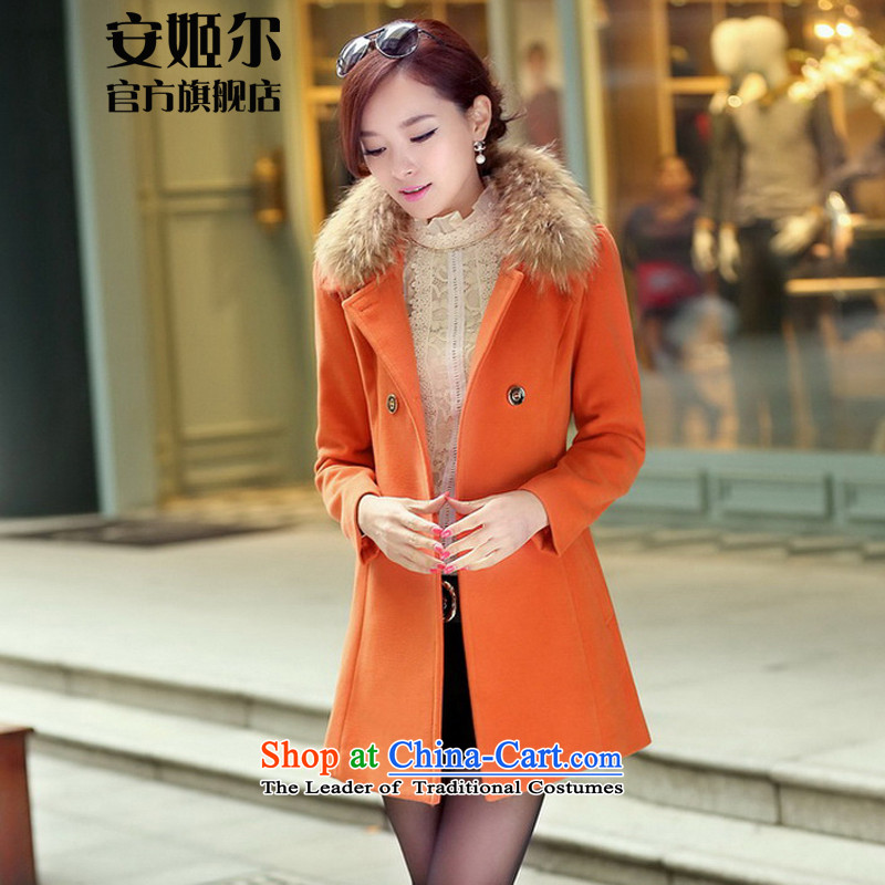 Ahn Hee's 2015 autumn and winter new Korean female cashmere large in Sau San long coats gross? Wind Jacket female orange聽M