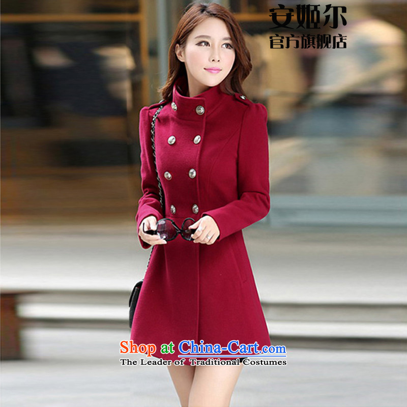 Ahn Hee's 2015 Fall_Winter Collections new Korean version of large numbers of new products in the long-sleeved long double-coats a gross? jacket female wine red燤