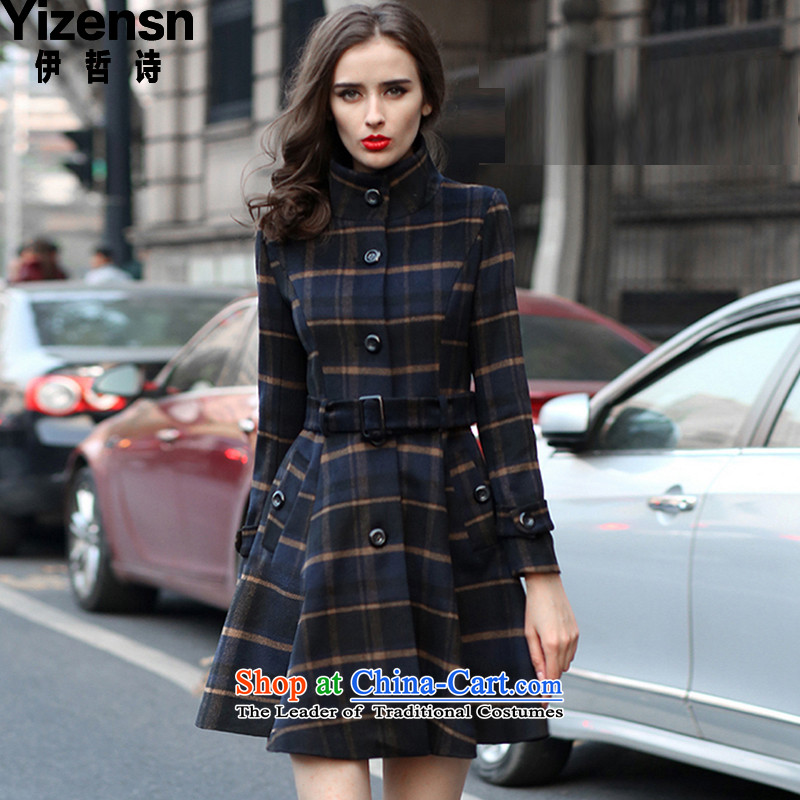 El-chul (yizensn poem) won the new winter 2015 version in English long skirt as Grid Wind Jacket y70397 gross? picture color   L
