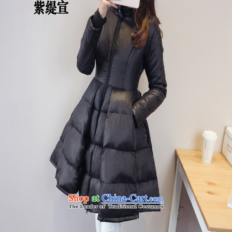 The first declared Korean economy to increase women's code thick mm winter clothing new petticoats ?tòa female autumn and winter coats cotton coat thick?black?5XL D8202_ robe around 922.747 180-200