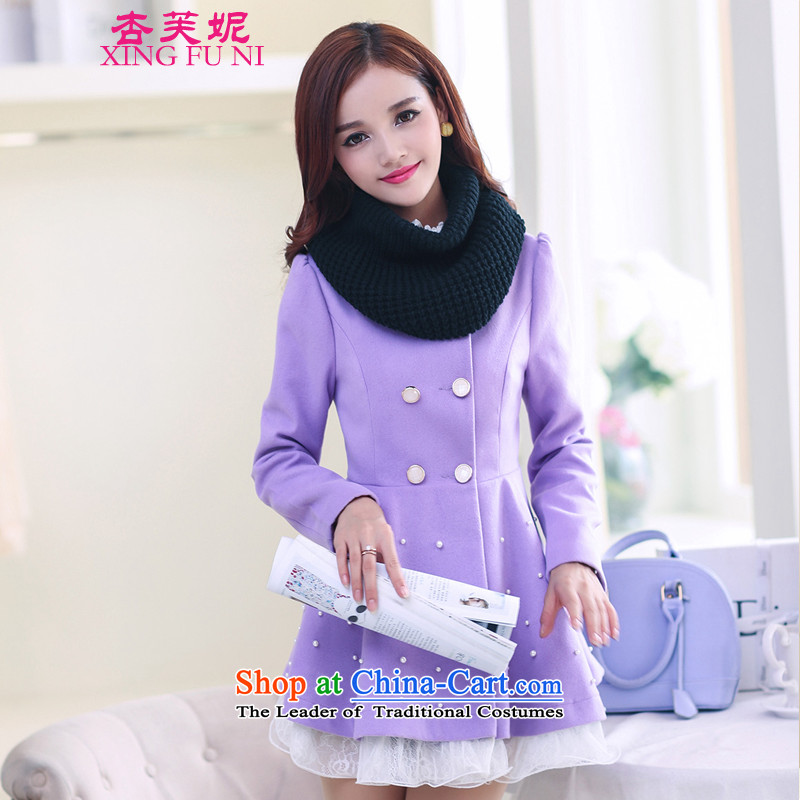All Daphne 2015 autumn and winter new Korean female jacket is   Gross double-lace under the medium to long term, a wool coat purple M