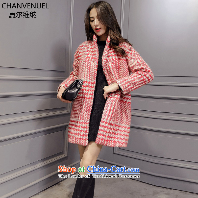 _d_ Gross Sharma, Ms. jacket? 2015 winter clothing new Korean female loose video thin a wool coat in long-thick wool can cocoon jacket Ruby Red M