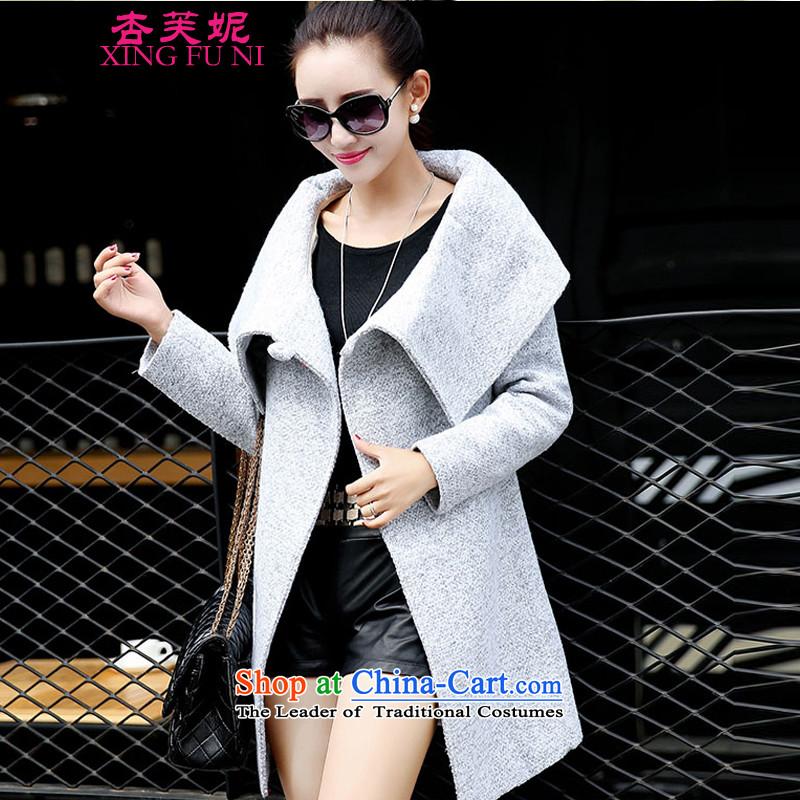 All Daphne 2015 Fall/Winter Collections Of new women's female square Sau San Mao jacket coat fall? New temperament windbreaker aristocratic light grayXL