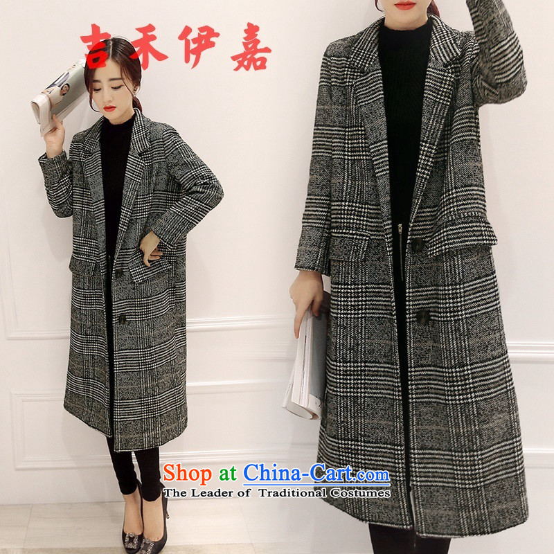 Gil Wo Ika 2015 Winter Female Korean modern long hair? jacket large Sau San code graphics thin wool a wool coat temperament picture color L