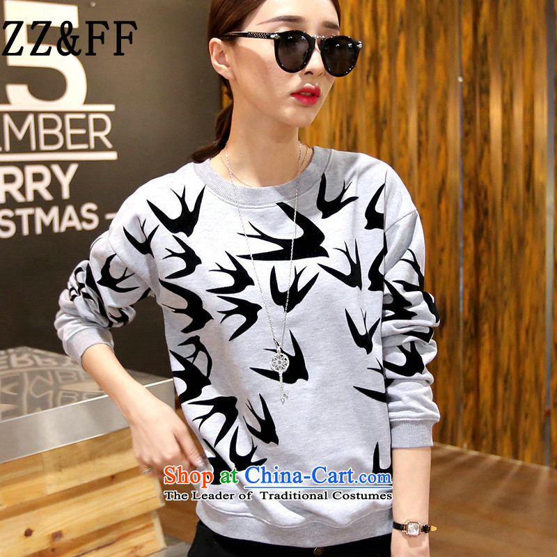 2015 Autumn and winter Zz_ff new liberal large long-sleeved Pullover sweater female� skt爂ray燲XL