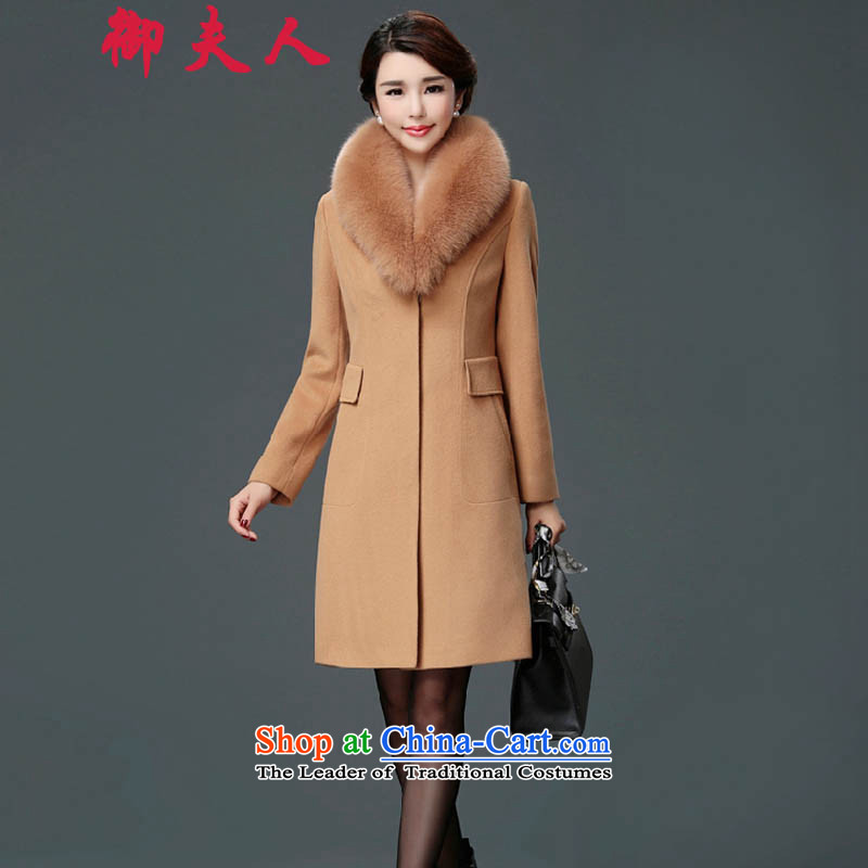 Mrs. Mercy gross? 2015 winter coats of female new gross collar cashmere overcoat fox girl in the long hair of Sau San? jacket and colorXXL