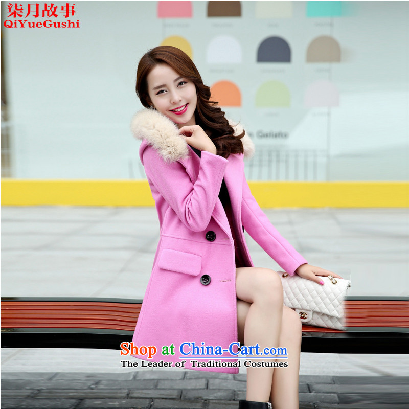 Nt 2.7 on 2015 autumn and winter story new coats Korean gross?   in the thin long graphics_? sub jacket female 801 DEEPPINK燤