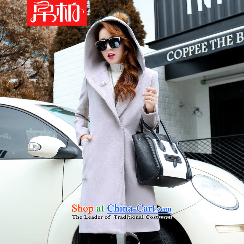 8po gross? 2015 autumn and winter coats female Korean version of the new long cap cashmere overcoat thick double-side light gray coat聽XXL