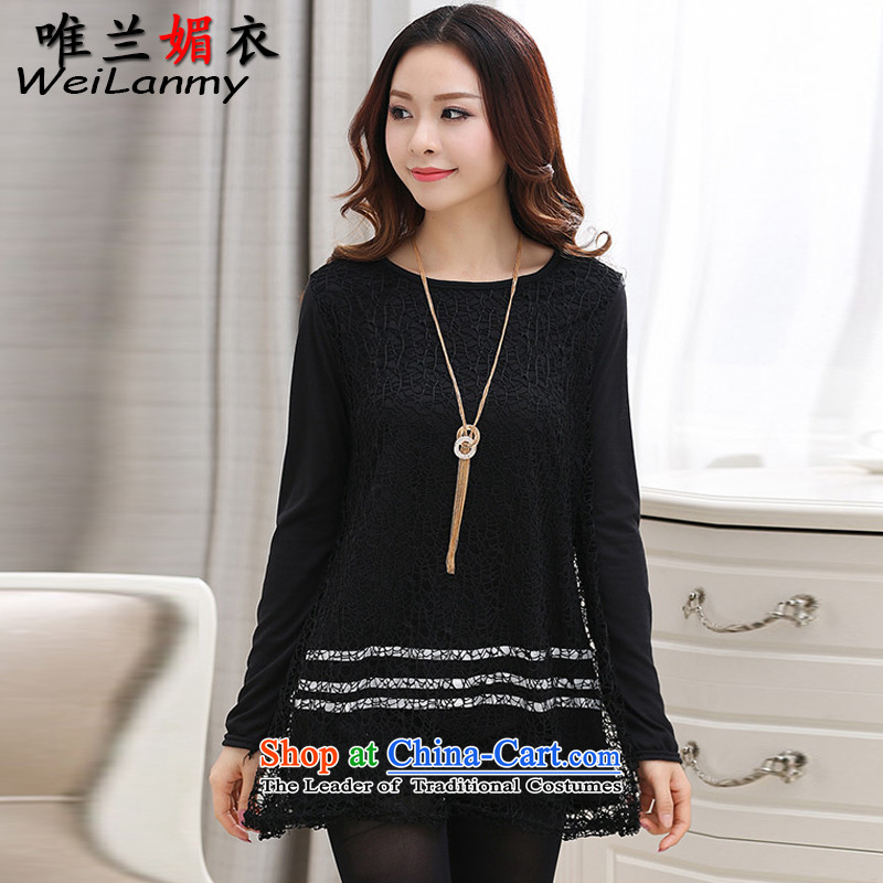 Cd-lan of Yi�15 autumn and winter new to intensify in the skirt of engraving lace, forming the basis爋f understanding between the Netherlands燺large one black_ code 4XL