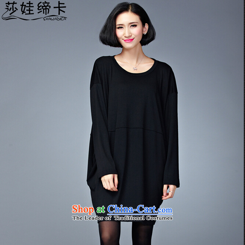 Elisabeth Wa King Card Code entered into thick people female to female xl 200 catties loose video shirt thin women's tee stylish large Fat MM long-sleeved T-shirts black large numbers are Code�0 to 260 catties can penetrate