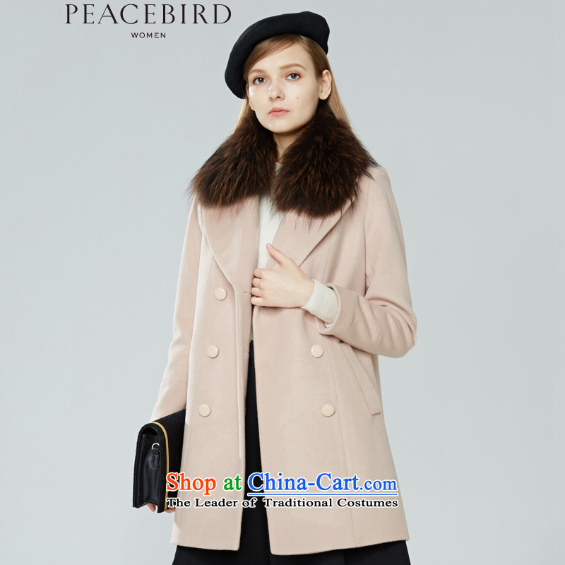 Women Peacebird 2015 winter clothing new products (CIS lapel coats A1AA44617 】 nude M