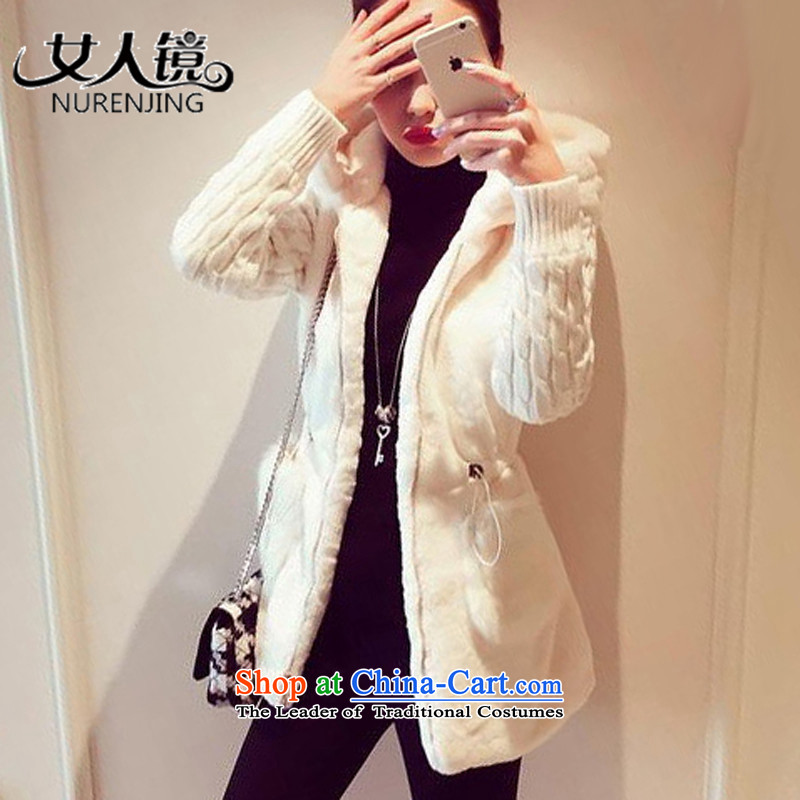 Women?2015 autumn and winter mirror new stylish classic knitting stitching plush thick cap jacket _G8894 white?S