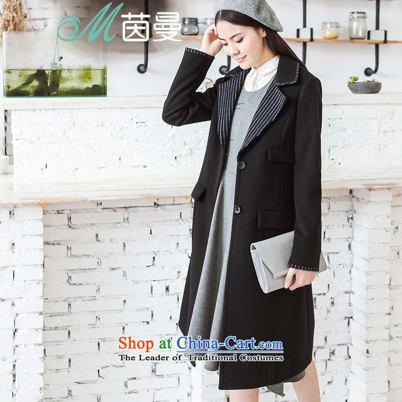 Athena Chu Cayman 2015 winter clothing new streaks long_? overcoat girl _8543210090- water dried ink black L