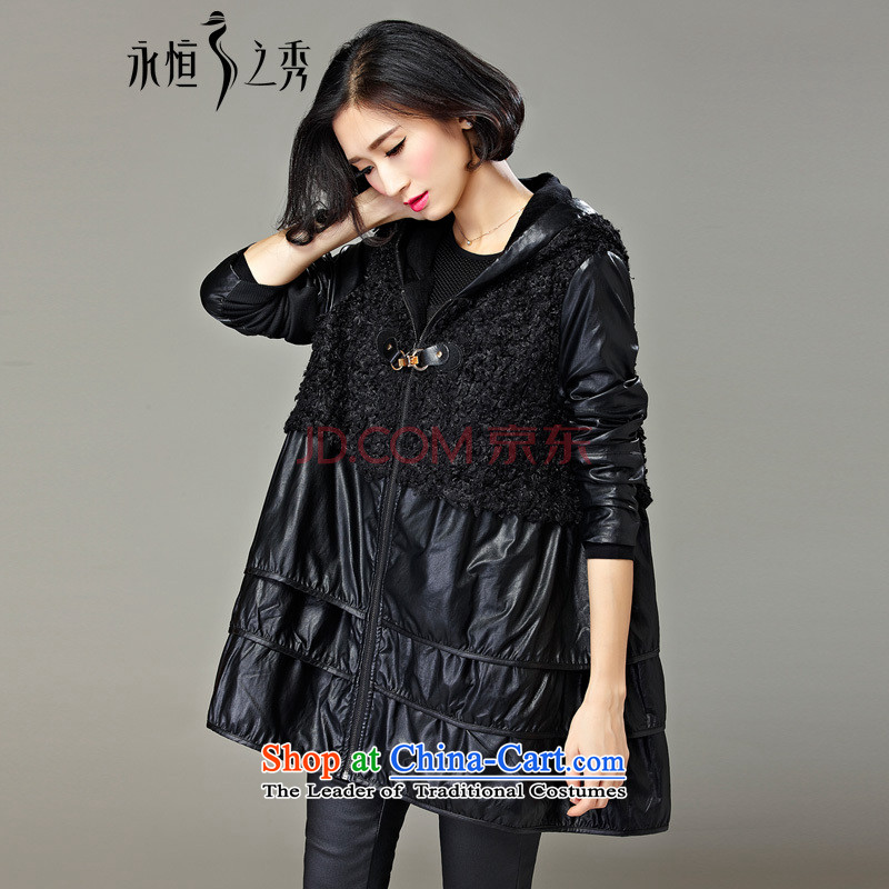 The Eternal Yuexiu code female jackets for winter new products by 2015 mm thick sister new western style autumn and winter to xl jacket thick, Hin in thin long black聽XL