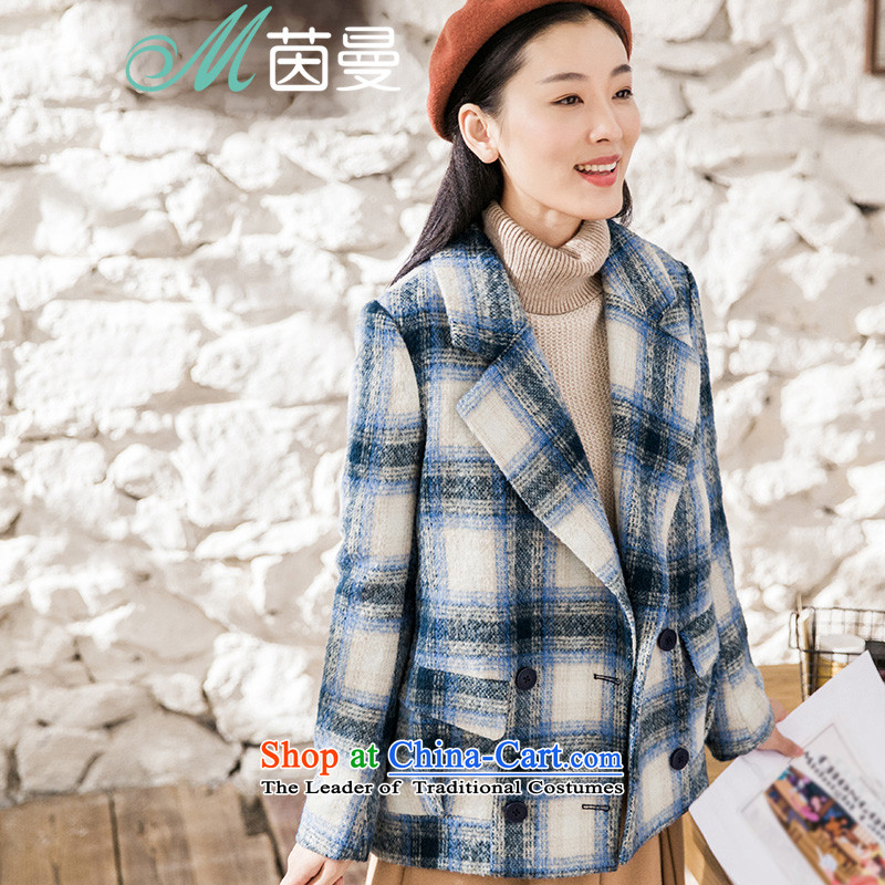 Athena Chu Cayman 2015 winter clothing new grid double-jacket coat female elections?- sky blueL 8543220533