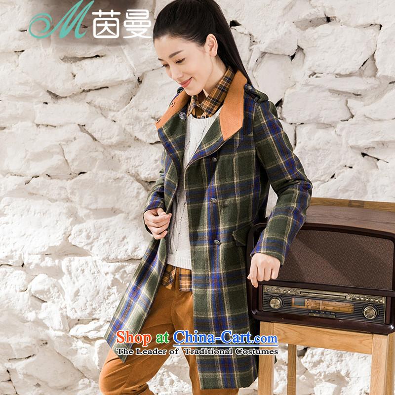 Athena Chu Cayman 2015 winter clothing new arts latticed long coats female_? _8543210421- dark greenM