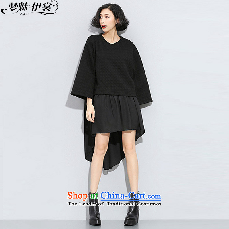 The staff of the Advisory Committee this autumn and winter load to increase women's code in mm thick long sweater stitching chiffon plain colored false two kits dresses black will loose