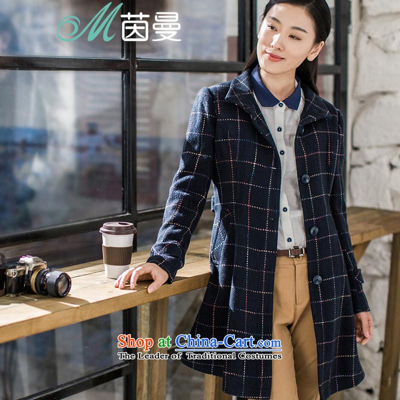 Athena Chu Cayman 2015 winter clothing new grid lap long coats_? female elected as Sapphire Blue, 8543210450L