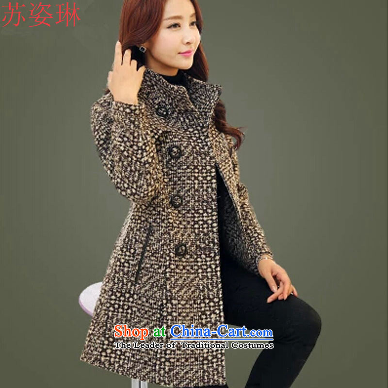 Su Chi Lin Mao jacket girl in long?) chidori grid wool Connie sub winter clothing middle-aged moms thick tartan sub-coats of winter chidori XXL
