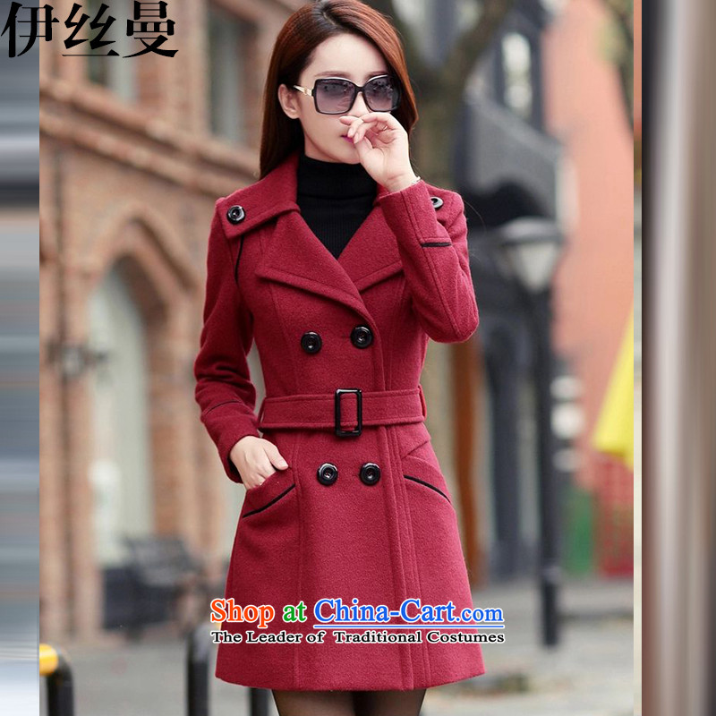 El Wire Cayman 2015 Fall/Winter Collections for women won the new version of the Sau San butted long hair?)? a wool coat GD6916 wine red M