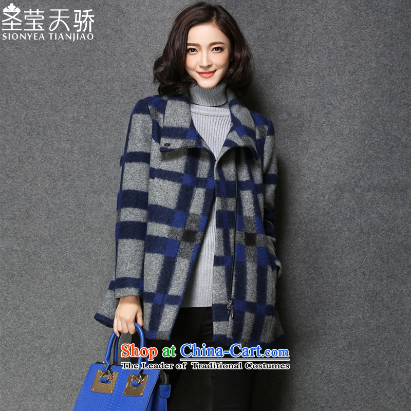 The holy day average 2015 Ying autumn and winter new liberal video thin hair stylish coat temperament gross?? female S623 coats of England latticed燤