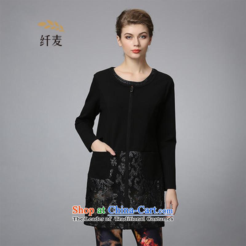 The former Yugoslavia Migdal cooked larger fall 2015 new stylish gauze 353041365 long jacket, black聽4XL