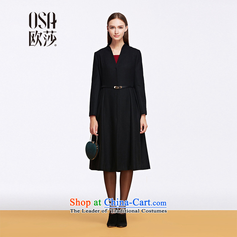 The OSA EURO 2015 Winter New Windsor female pure color jacket coat Ms. gross? Long SD557012 black M