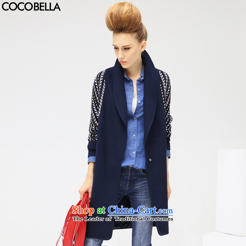 2015 Autumn and winter COCOBELLA new products in long stitching position-a wool coat women's gross CT316 possession blue jacket?燣