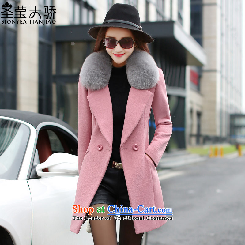 The holy day average gross 2015 ying? Long girls jacket Korean version of large code is smart casual a wool coat S626 leather red M