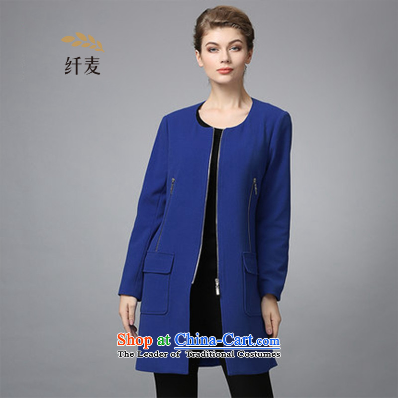 The former Yugoslavia Migdal cooked large 2015 autumn and winter new stylish round-neck collar thin solid color graphics Sau San 354041412 blue�L Jacket