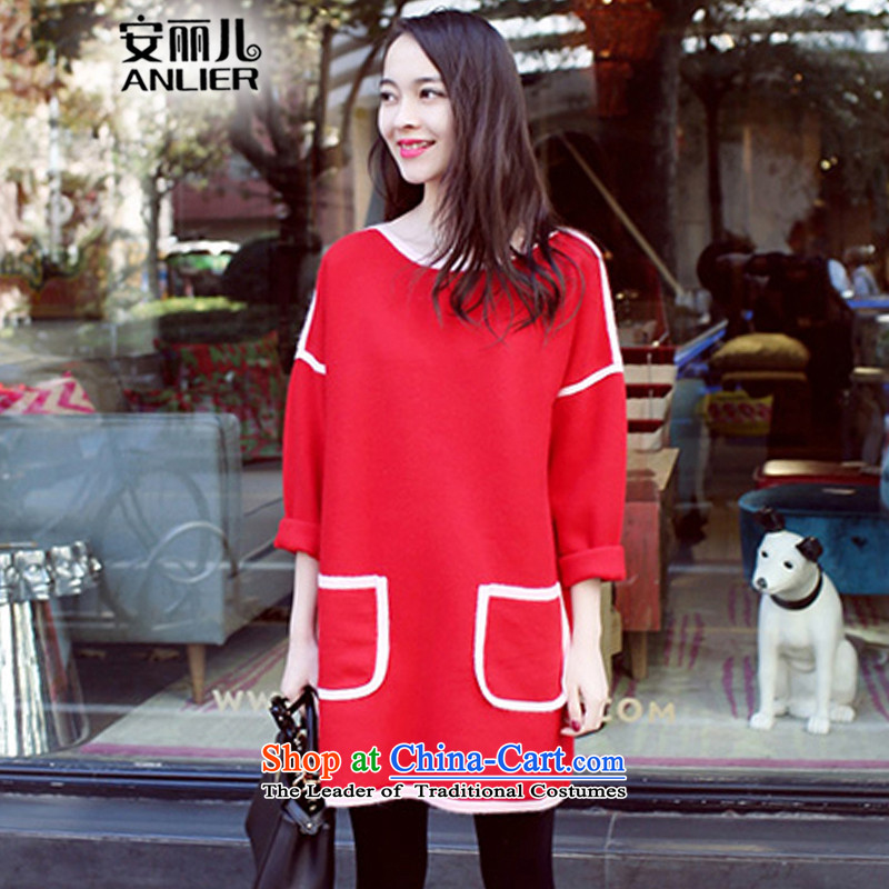 Maximum number of ladies on Lai Yee 2015 Autumn new version in the relaxd, Korea long thick MM long-sleeved thin hair? graphics skirt the girl as referred to redXXL