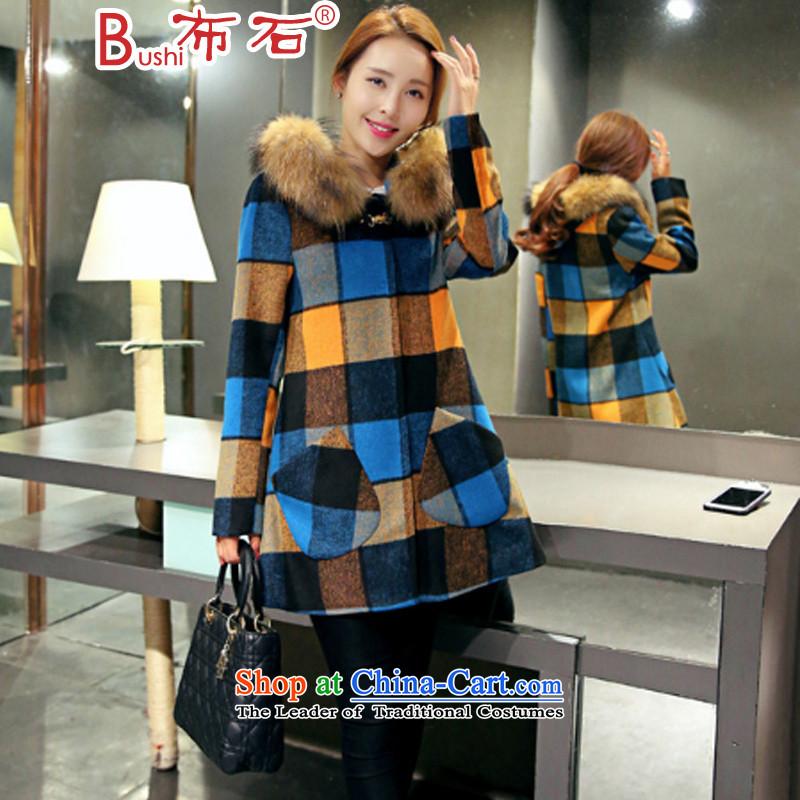The ishike coats women won? Edition long jacket, 2015 Winter New Blue Yellow?M