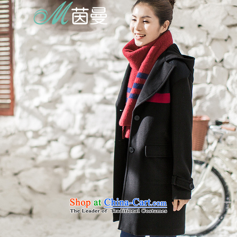 Athena Chu Cayman 2015 winter clothing new cap long coats_??- 8543210190 _female jacket Midnight Black燬