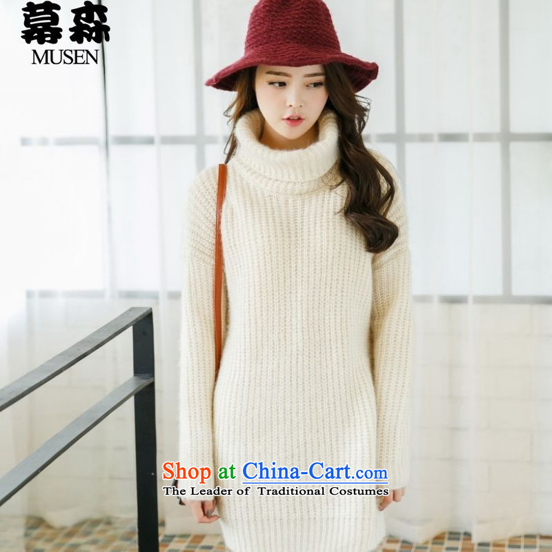 The  2015 autumn and winter large sum for women in high-collar loose long sweater 200 catties can be wearing a white are code