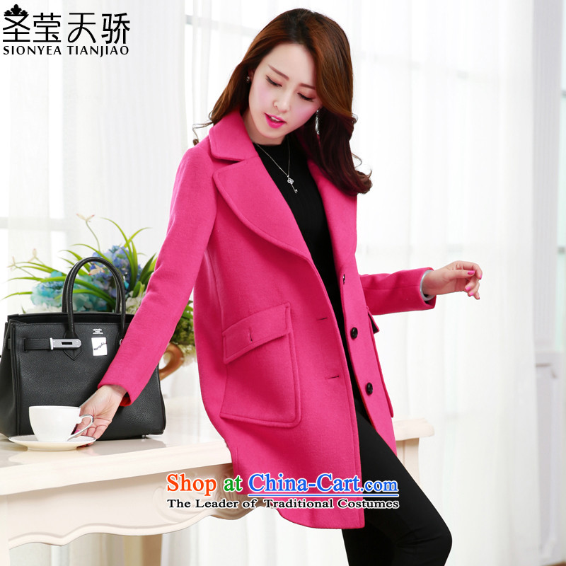 The holy day average 2015 Ying autumn and winter in new long temperament a wool coat Korean women S628 jacket? gross in red?XL